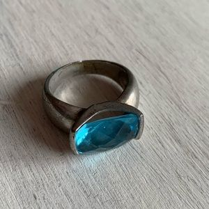 Vintage Costume Ring Silver Band Topaz Gemstone